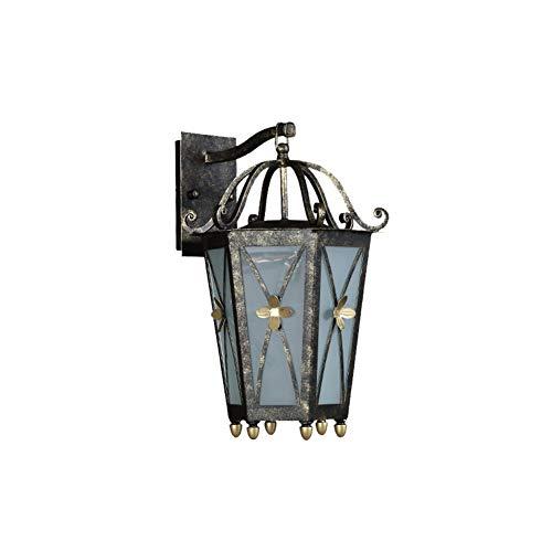 Lámpara de pared exterior, hierro forjado europeo impermeable exterior pared patio vidrio lámpara balcón puerta villa jardín sol habitación famoso hotel resort lluvia lámpara de pared antiguo