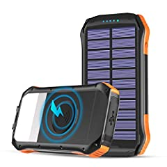 Wireless Charging: This solar charger comes with Qi charging which supports all Qi-enabled devices. And it can transmit power directly through your phone case instead of taking down the case when your phone needs to be charged. 3 Outputs: Comes with ...