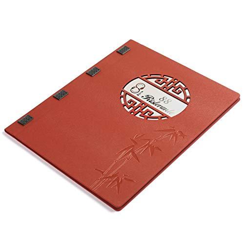 A4 Menu Covers Restaurant Kookboeken Gratis Drukmenu met Logo, Bevat 6 Transparante Zakken, Gift 6 Drukpapier, 30st Pack, Gratis Verzending A4 Rood-2