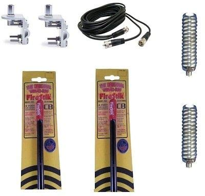 2 Firestik KW4 B 4ft Black CB Antenna - 18ft Dual Coax - Mounts & Springs Kit