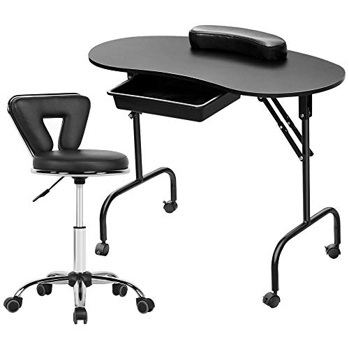 Topeakmart 37-inch Foldable Manicure Nail Table Station Desk with Client Wrist Pad/Carrying Case and Adjustable Rolling Stool Swivel Salon Stool Chair Set Black