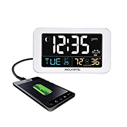 AcuRite Intelli-Time Alarm Clock with USB Charger, Indoor Temperature and Humidity (13040CA), 0.8, White