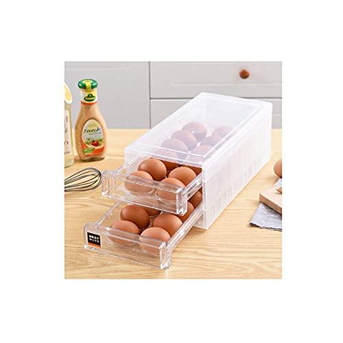 Corlidea - Huevera de doble capa, para nevera, plástico, para 24 huevos, apilable, organizador de frigorífico (33 cm x 17 cm x 14,5 cm)