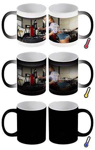 LEotiE SINCE 2004 Zaubertasse Farbwechseltasse Kaffeebecher Tasse Becher Latte Cappuccino Espresso Pin Up Erotik Werkstatt Kalendergirl