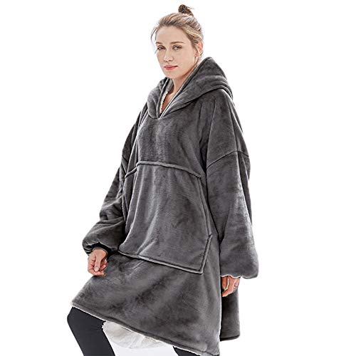 Wearable Blanket - Hoodie Blanket for Women and Men, Thick Flannel Blanket with Sleeves and Giant...
