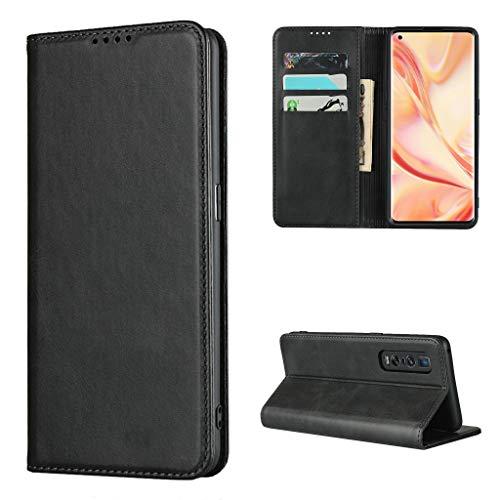 Copmob Hülle Oppo Find X2 Pro,Premium Flip Leder Brieftasche Handyhülle,[3 Kartensteckplatz][Ständerfunktion][Magnetverschluss],Ledertasche Schutzhülle für Oppo Find X2 Pro - Schwarz