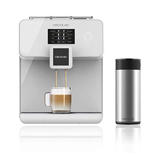 Cecotec Cafetera Automática Power Matic-ccino 8000 Touch Serie Bianca. Depósito de leche, Pantalla Táctil, Prepara Cappuccino, Café Personalizable, Tecnología ForceAroma de 19 bares de presión