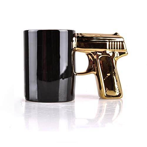 SIKOO Totenkopf-Waffen-Tasse, Pistolen-Becher, 3D-Kaffeetasse aus Keramik, Geschenk für Herren, 400 ml (schwarzer Totenkopf) 4.1Tall Schwarz/goldfarben