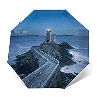 折りたたみ傘 灯台と海岸の風景の日傘 遮光 紫外線遮蔽率99% 超耐風撥水 梅雨対策 携帯しやすい晴雨兼用