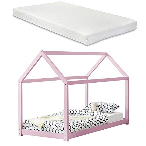 [en.casa] Barnsäng med madrass 90 x 200 cm rosa trä hus design furu säng träsäng hussäng kallskummadrass Öko-Tex Standard 100 Lämplig för allergiker andas