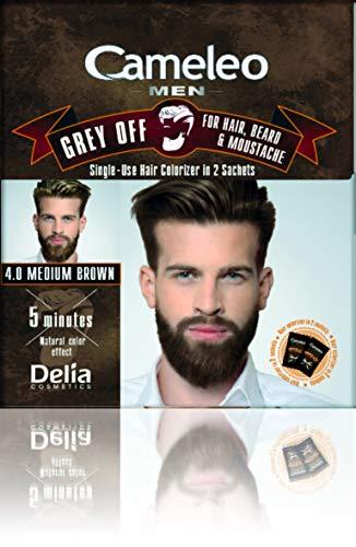 Cameleo Men Hair Beard Mustache Medium Brown Color Cream Grey OFF - Ammonia, PPD Free, 5 min (pack of 3)