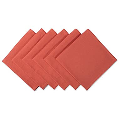 DII 100% Cotton Cloth Thanksgiving Napkins, Oversized 20x20 Dinner Napkins, For Basic Everyday Use, Banquets, Weddings, Events, or Family Gatherings - Set of 6, Orange Spice