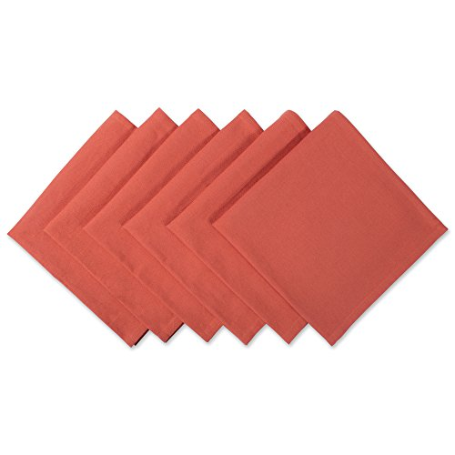 "DII 100% Cotton Cloth Thanksgiving Napkins, Oversized 20x20"" Dinner Napkins, For Basic Everyday Use, Banquets, Weddings, Events, or Family Gatherings - Set of 6, Orange Spice"