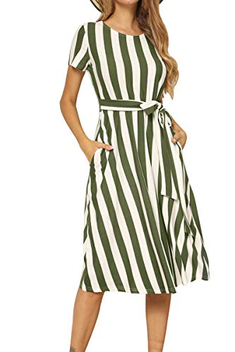 levaca Women's Summer Short Sleeve Casual Pockets Midi Dress with Belt Army Green XL