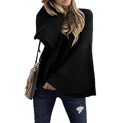 OutTop Sweaters for Women Fashion Batwings Fall Winter Lightweight Crewneck Loose Solid Pullover Sweatshirt Tunic Tops (Black, S)