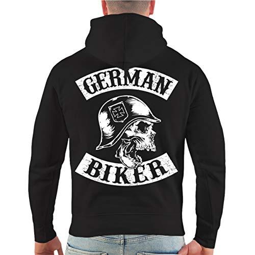 Spaß kostet Männer und Herren Kapuzenpullover Patch German Biker (mit Rückendruck) Größe S - 4XL