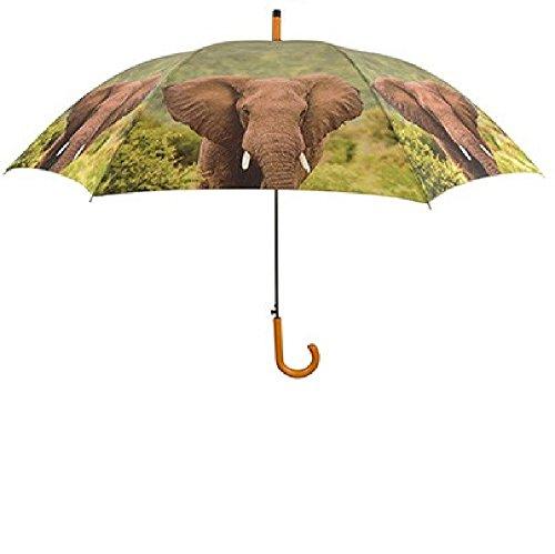 Regenschirm Elefant mit Holzgriff, Automatikschirm, Stockschirm, Schirm, Tier, Elefanten