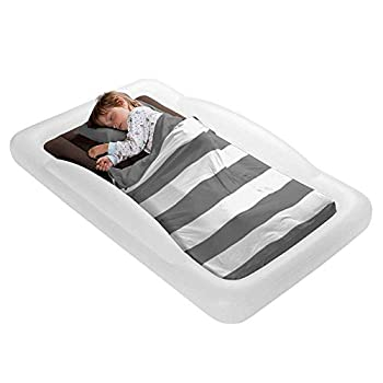 The Shrunks Toddler Travel Bed Portable Inflatable Air Mattress Blow Up Bed for Indoor/Outdoor Camping Backyard Hotel or Home Use Kids Floor Bed with Security Bed Rails and Electric Pump