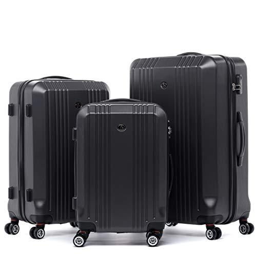 FERGÉ Kofferset Hartschale 3-teilig Cannes Trolley-Set - Handgepäck 55 cm, L und XL 3er Set Hartschalenkoffer Roll-Koffer 4 Rollen grau