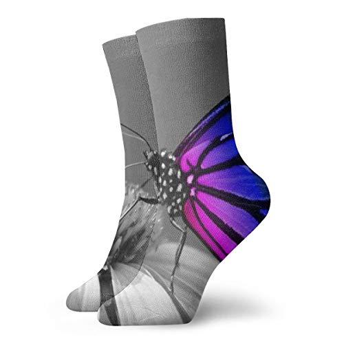BJAMAJ Unisex Sokken Regenboog Vlinder Behang Interessant Polyester Crew Sokken Volwassene Sokken Katoen