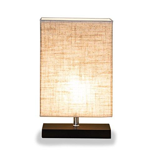 ZEEFO Holz Tischlampe, Retro Massiv holz und Stoffschirm entspannende Nachttischlampe für Schlafzimmer Wohnzimmer, Studio, Café, Babyzimmer,Studentenwohnheim (Rectangle)