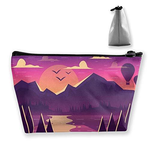 Cartoon Mountain Landscape Women Makeup Bags Sacs de Rangement pour Produits de Toilette Multifonctions Rangement de Lavage de Voyage (Trapézoïdal)