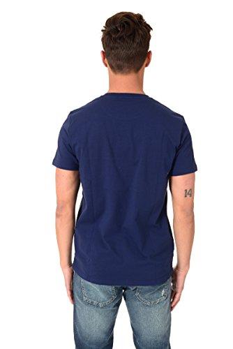 Fred Perry Herren Gestreiftes Rundhals T-shirt Tasche S French Navy