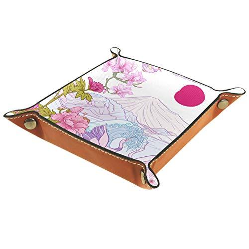 YATELI Caja de Almacenamiento pequeña, Bandeja de Valet para Hombre,grúa Japonesa del mar de Fuji,Organizador de Cuero para Llaves de Caja de Monedas