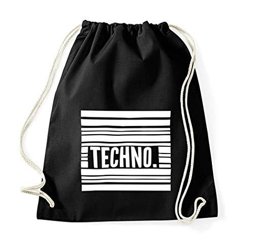 Youth Designz Turnbeutel mit Spruch Beutel Tasche Rucksack Jutebeutel Sportbeutel Modell Techno Streifen
