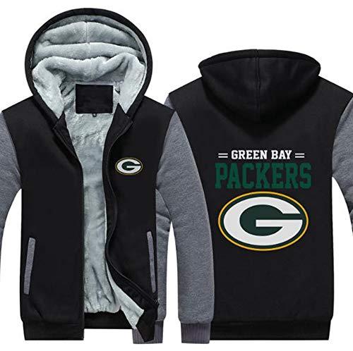 LLforever NFL JerseyHoodie Green Bay Packers, Plus Samt-Rugby-Hemd-langärmlige T-Shirt-Druck Hemd mit Kapuze beiläufige Bequeme Thick Pullover,B,L