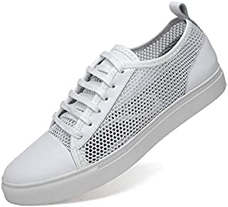 FYXUKK Men's Leather mesh Shoes Casual Perforated Shoes Breathable lace-up Sneakers