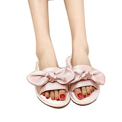 Tingting Pantofole, Sposa Antiscivolo Fondo Morbido casa Damigella dOnore Abito da Mattina in Raso Sposa Donna Rossa (Color : Pink, Size : 37-38)