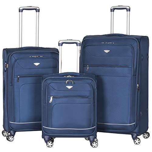 Flight Knight 840D Leichtgewicht Reisekoffer Koffer 3 Groben, Maximalen Grobe Fur RyanAir, AirBerlin, Emirates Und Viele Mehr! Handgepack 55x40x20 cm & Grober Koffer Mit 8 Rollen.