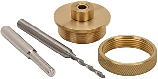 4 Pc Solid Brass Router Inlay Kit with Bit for Rotary Tool Universal Bushing Retainer Nut Snap-on Centering pin 1/8 in Carbide Bit 1/4 in. shank