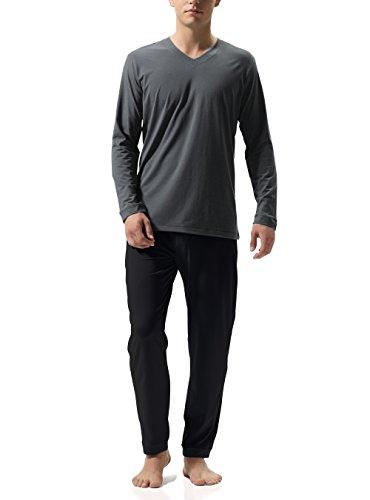 DAVID ARCHY Herren Baumwolle Schlafanzug Zweiteiliger Nachtwäsche Langarm Shirt und Loungehose mit V Ausschnitt Flauschig 1er Pack