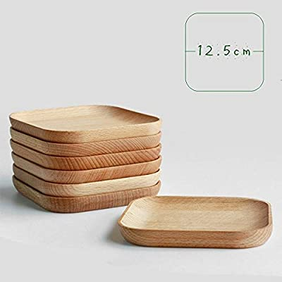 XDOBO Natural Beech Wood Serving Dishes - Handmade Mini Dessert Plates - Safe and Eco-friendly - Pack of