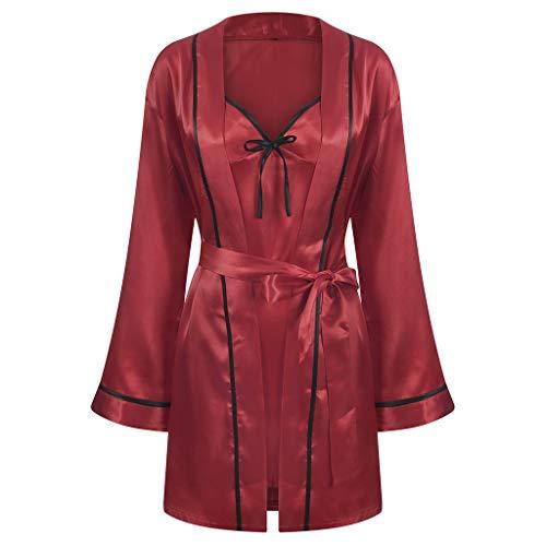 Dames pyjama van satijn, lange mouwen, eenkleurig, nachtgoed, elegant, zacht, mouwloos, rok en mantel