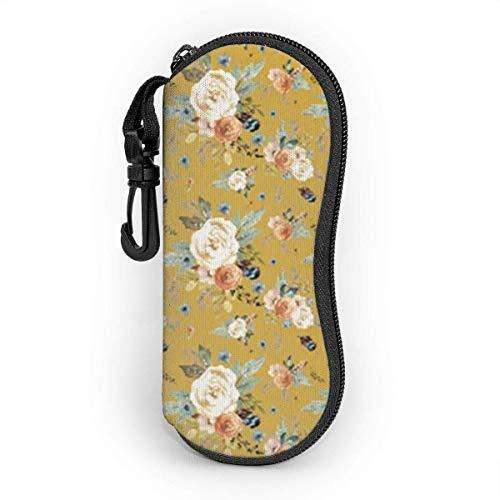 Bran-don Gafas de sol Estuche blando Estuche para gafas con clip para cinturón, color mostaza de otoño occidental