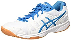 ASICS Men's Gel Upcourt Volleyball Shoes, Multicolor (White / Blue Jewel / White), 44.5 EU