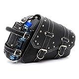 Alforjas de Motocicleta Cuero PU Impermeable Bolsa de Herramientas de Equipaje Lateral de Motocicleta - Negro (Lado Derecho)