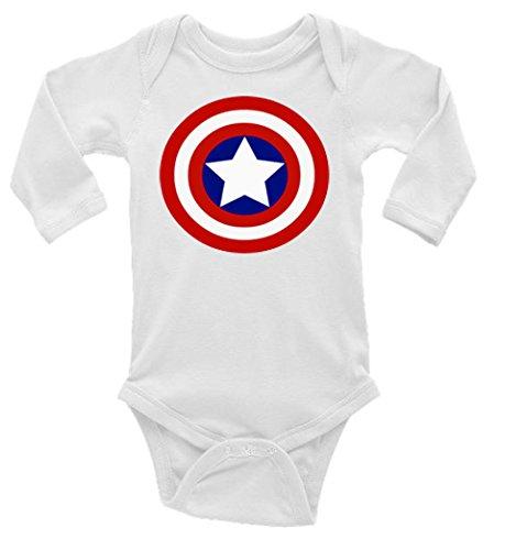 Captain America Shield Long Sleeve Unisex Onesie (0-3)