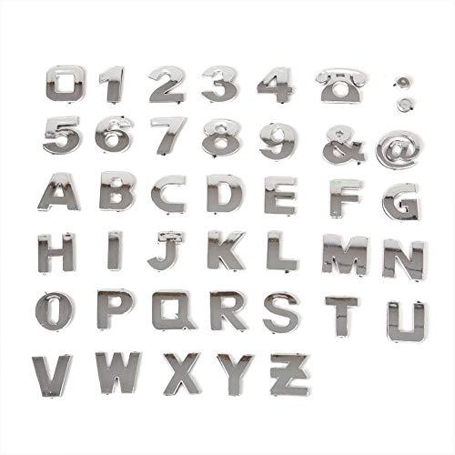 Juanya - Juego de adhesivos 3D para coche, 26 letras, números plateados, autoadhesivos, 40 piezas