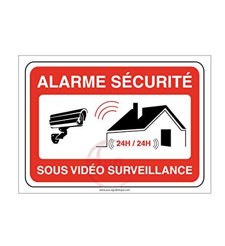 AUA SIGNALETIQUE - Autocollant Alarme sécurité sous vidéo Surveillance 24h/24 PROPRIÉTÉ PRIVÉE - 150x105 mm, Vinyl adhésif