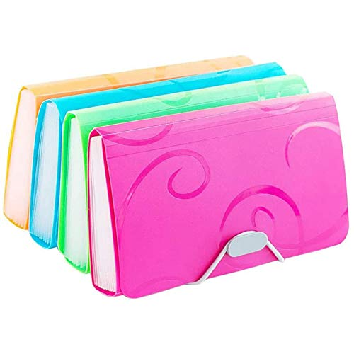 Ofilon Expanding File Folder, Pack of 2, 7 x 4 Inches, 13 Pocket Document File Folder with Tabs and Bungee Closure - Mini PP Wallet Organizer for Receipts, Coupons, Checks, Cards, Tax Item or Changes