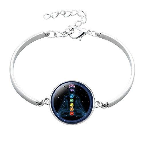 Joyería religiosa Yoga Seven Chakra Pulsera de cristal de piedras preciosas Pulsera de aleación de plata Personalizada-1808