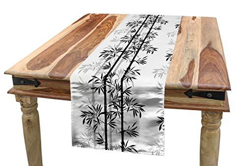 ABAKUHAUS Japonés Camino de Mesa, Hojas De Arbol De Bambu Zen, Decorativo para el Comedor o Sala de Estar Fácil de Limpiar, 40 x 225 cm, Blanco Negro