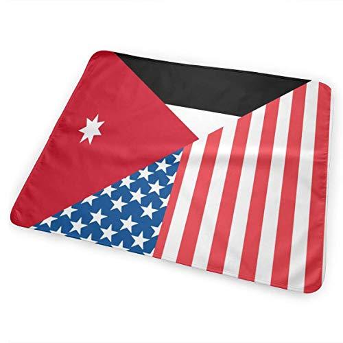 Amerikaanse en Jordaanse Vlag Veranderende Pad Waterdicht Zachte Grote Baby Veranderende Mat om Luier Matrasbeschermer Cover voor Jongen en Meisje Pasgeboren (25.5â€x31.5â€)