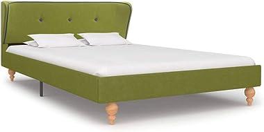 vidaXL Single Bed Frame Fabric Strong Wood Frame Rubber Legs Slat Support Mattress Foundation Upholstered Bed Bedroom Furnitu