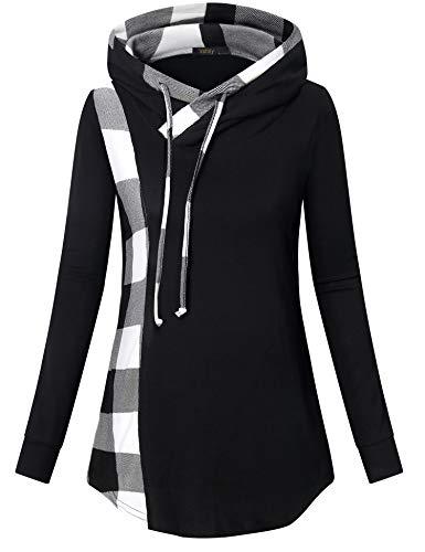 VAFOLY Langarmshirt Damen, Pulli Sweatshirt Mode Weihnachtspullover Super lässige Kapuzenjacke Modisches Kontrastfarbe Oberteile(Weiß-schwarz,XL)