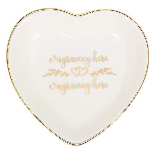 Alskafashion Ring Dish Schmuckhalter Herzform Trinket Tablett Keramikplatte Schmuck Organizer Home Decor Dish für Geburtstag Hochzeit Muttertag Valentinstag (Schriftart 2)